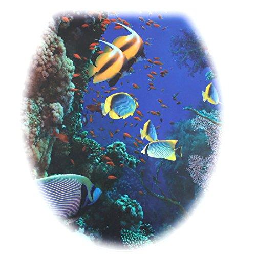 sourcingmap Toilettensitz Bad PVC blau Fisch Muster abnehmbare Wasser Widerstand WC Deckel Aufkleber DE de