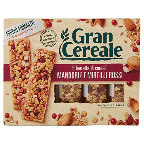 Gran Cereale Barrette di Cereali, Mandorle e Mirtilli Rossi, 5 x 27g