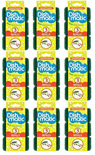 Juego de 27 estropajos de repuesto de Dishmatic de alta resistencia (cabezales), color verde, caja completa