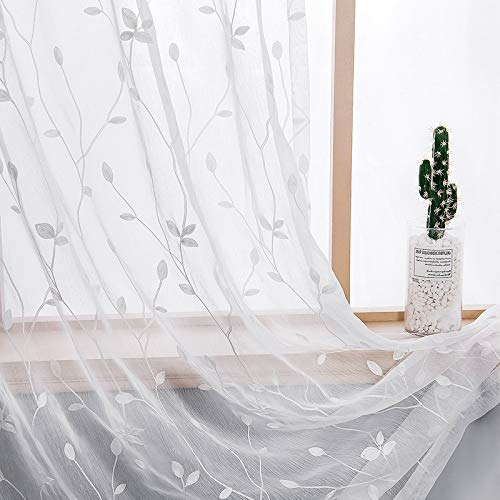 AmHoo 2 Panels Embroidered Leaf Pattern Semi Sheer Curtains Foliage Floral Voile Window Draperies Treatment for Bedroom Living Room Rod Pocket White 53 x 84 Inch