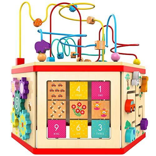 TOP BRIGHT Motorikwürfel aus Holz groß,7-in-1 Spielecenter Baby Spielzeug ab 12 Monate,Lernspielzeug für Kinder ab 1 Jahr Jungen und Mädchen Geschenke