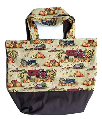 Hand Crafted Tote Sale item Bag-Red Many popular brands Tractors Pumpkins with Sunflowers and