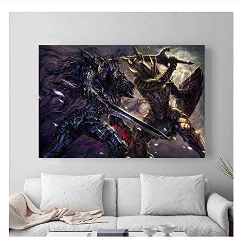 Suuyar Dark Souls Video Game Artwork Poster und Drucke Wandkunst Dekorative Bild Leinwand Malerei Für Wohnzimmer Wohnkultur -60x90 cm Kein Rahmen