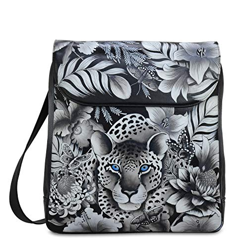 Anuschka Women's Genuine Leather Large Convertible Flap Backpack |Hand Painted Original Artwork|Cleopatra's Leopard