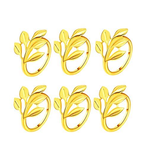 Gold Silber Serviettenringe, 6/12 Stück Metall Serviettenschnallen für Hochzeitsfeier Abendessen Jubiläum Tischdekoration(Gold,6 PCS)