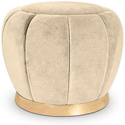 WZF Fashion Home Kleine Fußstütze Fußhocker Moderne Einfache Umkleidekabine Stoff Gepolstertes Sofa Sitzmöbel Fußhocker Bilden Wohnzimmer Schlafzimmer Runde Ottoman Pouf Hocker Stuhl (Farbe: Beige)