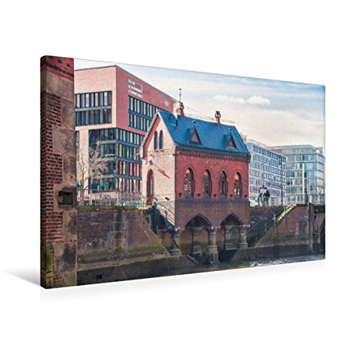 Premium Textil-Leinwand 90 x 60 cm Quer-Format Speicherstadt - Fleetschlösschen | Wandbild, HD-Bild auf Keilrahmen, Fertigbild auf hochwertigem Vlies, Leinwanddruck von Gabriele Krug