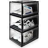 Yorbay Schuhbox, 3er Set, stapelbarer Schuhorganizer, Kunststoffbox mit durchsichtiger Tür, Schuhaufbewahrung, 37 x25,5 x 20 cm, für Schuhe bis Größe 48, Super transparent schwarz