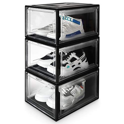 Yorbay Scatola per Scarpe , set di 3, Organizer per Scarpe Impilabile, Scatola di Plastica Con Sportello Super Trasparente, vano per scarpe, 37 x 25,5 x 20 cm, per scarpe fino alla taglia 48, Nero
