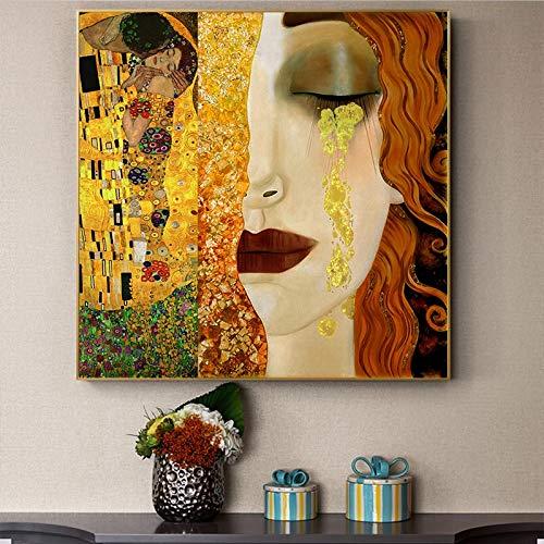ganlanshu Küsse und Tränen bringen Kunstplakate auf Wandgemälden auf Goldener Leinwand an,Rahmenlose Malerei,60x60cm