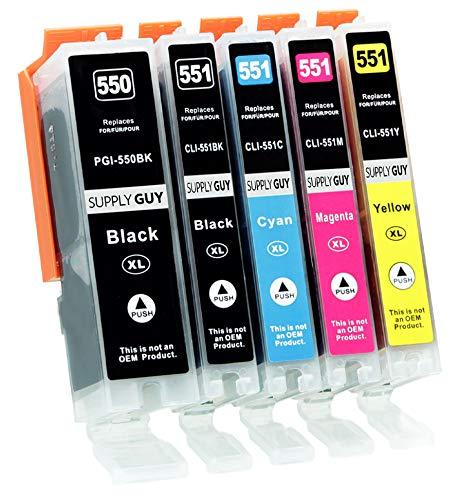 Supply Guy 5 Druckerpatronen mit Chip kompatibel mit Canon PGI-550 CLI-551 für Canon Pixma IP-7250 IX-6850 MG-5450 MG-5550 MG-5650 MG-5655 MG-6450 MG-6650 MX-725 MX-925