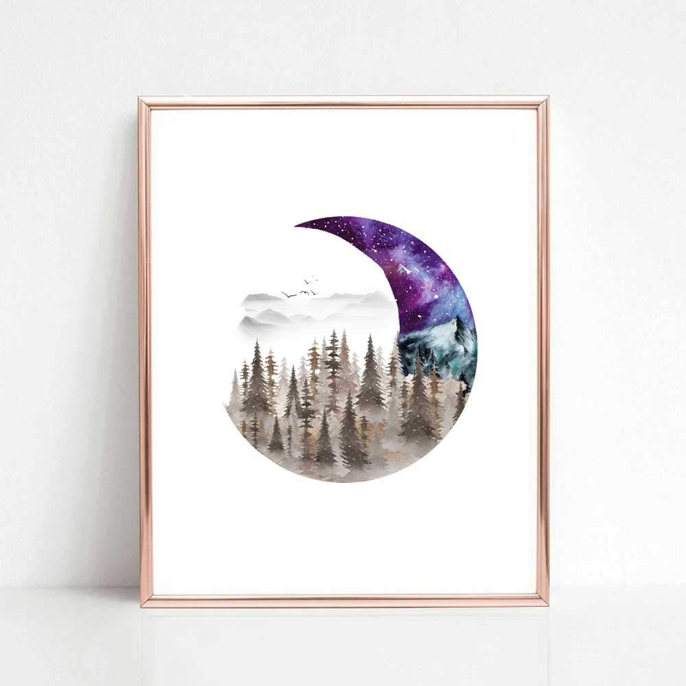 Ranking TOP16 Moon Creative Art Print 2021 Forest Painting Watercolor Space Galaxy