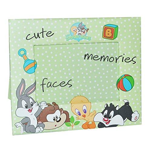 alles-meine.de GmbH Fotorahmen Looney Tunes - Tweety Bugs Bunny Hase - Bilderrahmen für Foto´s Kinder - Standrahmen Rahmen grüne Punkte