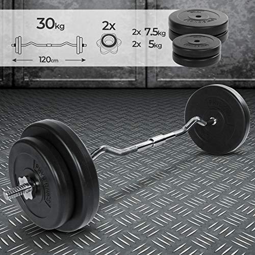 Curl Bar - Set con 4 Dischi di Peso, di 30 kg Totale, Lunghezza 120 cm, Ø 25 mm, con 2 Fermadischi - Bilanciere Curvo EZ, Barra Olimpica da Palestra, Fitness