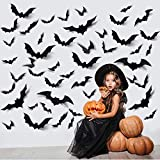 ZPOKA 60PCS Halloween Party Supplies PVC 3D Decoration Realistic Horror Bat Wall Decal Wall Sticker, DIY Halloween Decoration Home Interior Window Decoration Set (Balck)