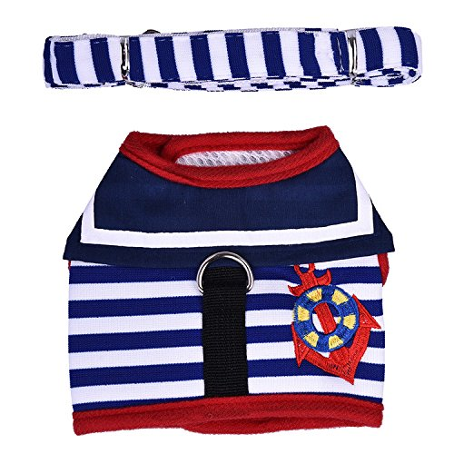 BulzEU schattige kleine puppy kat/hond veiligheid wandelen katoen zeeman vest harnas bijpassende lood Leash Set, S, Zwart