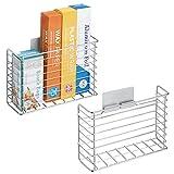 mDesign Juego de 2 estanterías metálicas de pared – Estantes de cocina...