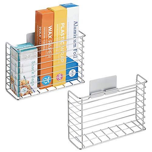 mDesign Set da 2 Organizer cucina autoadesivo – Portaoggetti da parete – Mensola cucina per carta stagnola, pellicola o sacchetti per congelare – argento