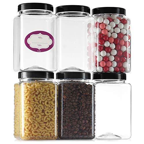 Clear Empty Plastic Storage containers with Lids - Square Plastic Containers - Plastic Jars with Lids and Labels – BPA Free Plastic Jar - Food Grade Air Tight – Pantry Canisters (6 Pack 36 Oz)