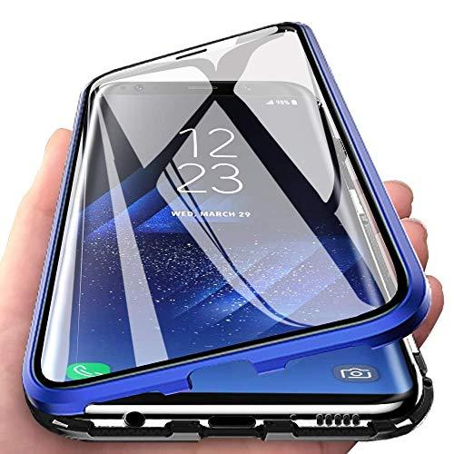 Huawei Honor 10 Funda, 360 GradosFrente y Parte Posterior Cuerpo Completo Protección Transparente Vidrio Templado + Metal Bumper con Adsorción Magnética Cubierta Carcasa para Huawei Honor 10