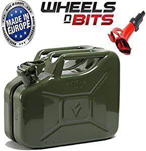 Wheels Bits METAL POWER COATED INSIDE OUT JERRY CAN 10L LITRE CAN WITH SPOUT