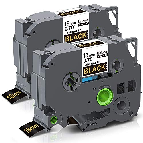 Unismar Replace for Brother PTouch TZe-344 TZ344 TZe344 Laminated Gold on Black Label Tape for Brother PTD400AD PTD400VP PT-D600 PTD600VP PT-P700 PT-P900W PT-2730 Label Maker, 3/4 in x 26.2 ft, 2-Pack