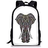 Hui-Shop Mochilas Escolares Elefante Mandala, símbolo Sagrado de la Fuerza Espíritu Animal...