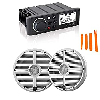 Fusion MS-RA70N Marine AM/FM/BT/NEMA2000 Stereo with 1 Pair Wet Sounds Recon 6-XWW High Output 6.5  Marine Coaxial Speakers White Grill