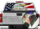 P327 American Flag Eagle Tint Rear Window Decal Wrap Graphic Perforated See Through Universal Size 65' x 17' FITS: Pickup Trucks F150 F250 Silverado Sierra Ram Tundra Ranger Colorado Tacoma 1500 2500