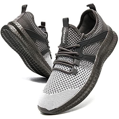 Zapatillas deportivas para hombre, zapatillas de correr, zapatillas de deporte, ligeras, zapatillas de tenis, para correr, hacer ejercicio, caminar, correr, etc., color Gris, talla 39 EU