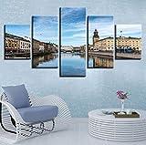 Leinwand Malerei Wandkunst Rahmen 5 Stücke Schweden Stadt