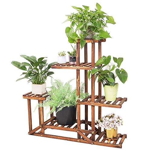Wooden Plant Stand Flower Shelf Holder 5 Tier Pot Shelves Bonsai Display Storage Rack Outdoor Indoor Garden Patio for Multiple Plants 37.4x9.84x37.79 Inches