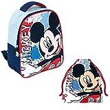REQUETEGUAY Mochila Mickey Mouse Disney Guardería Niños (28 cms) + Bolsa Mickey Mouse para Merienda