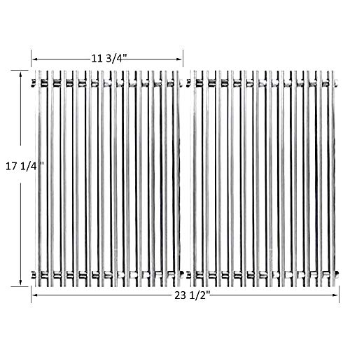 """BBQ funland 7527 7526 7525 Stainless Steel Replacement Cooking Grate for Weber Spirit 300/700/Genesis Silver/Gold B and C, Lowes Model Grills Cooking Grid Parts(17 1/4"""" x 23 1/2"""")"""