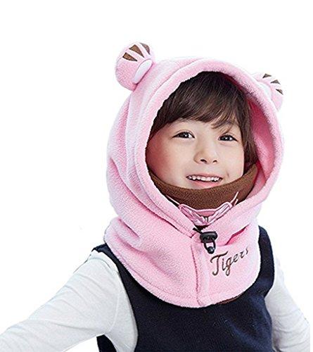 Bigood Cagoule bébé Enfant Bonnet Cache Oreilles Cou Chapeau Hiver Capuche Animaux Déguisement Rose Tour Tête 48-54cm