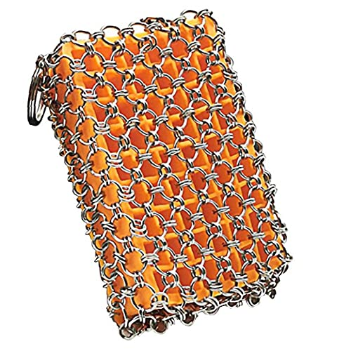 Yililay Stainless Steel Chainmail Scrubber Cast Iron Frying Pan Cleaner with Built-in Silicone Orange