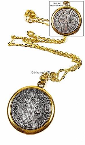 Nazareth Store Medalla de San San Benito Colgante Collar Católico Tono dorado...
