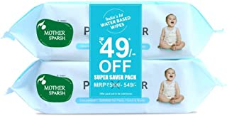 Mother Sparsh 99% Pure Water (Unscented) baby wipes I Natural Plant made cloth - Super thick I 72 pcs/pack - Pack of 2 (Su...