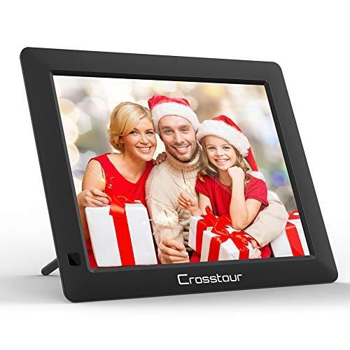 Crosstour Digitaler Bilderrahmen, Elektronischer Bilderrahmen, Musik/Video/Kalender/Wecker, 8 Zoll HD Display Automatische Drehung mit Fernbedienung, Weihnachts-/Halloween-/Geburtstagsgeschenk