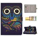 Universal Folio Cover for 8 inch Tablet, Techcircle Stand Wallet Case for LG G-Pad F2/X2 8.0, Fire HD 8, Galaxy Tab 8.0', iPad Mini 1/2/3/4/5, Huawei MediaPad 8.4', ASUS ZenPad 8.0', Ethnic Owl