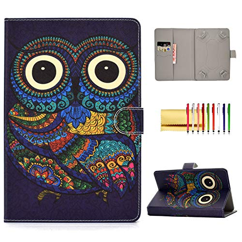 Universal Folio Cover for 10 inch Tablet, Techcircle Stand Wallet Case for iPad 9.7' Pro/Air 10.5', Samsung Galaxy Tab 9.7' 9.6' 10.1' 10.5', Fire HD 10, Lenovo Tab 10 / Tab4 10 Plus, Ethnic Owl