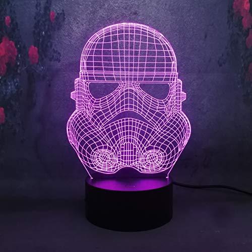 bianco Warrior 3D USB bambino applicare il colore della lampada da tavolo da tavolo Touch/Remote peculiare Decor luci notturne