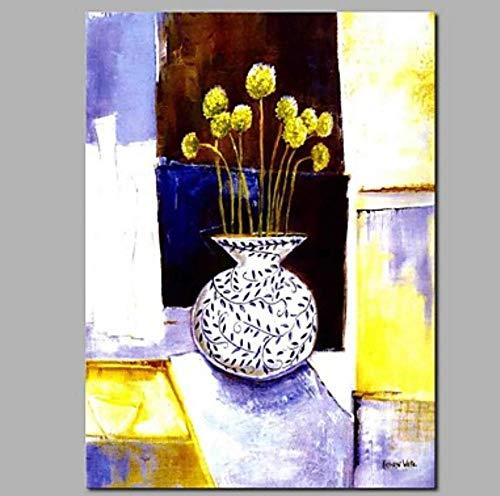 WunM Studio olieverfschilderij op canvas handgeschilderd, abstracte planten landschapsafbeeldingen, gele bloemen vintage ronde vaas, grote moderne home muur decoratie kunst voor woonkamer slaapkamer kantoor hotel cafe 100×150 cm