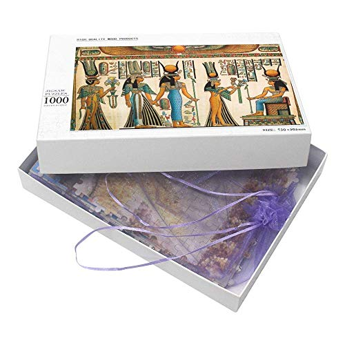 1000 Piece Puzzles, Egypt Papyrus Showing Queen Nefertari Jigsaw Puzzle Toy for Funny Brain Puzzles Educational Gift for Adult Kids Family Home Wall Decorations
