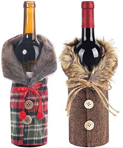 ZQQIAN Navidad Botella de Vino Cubierta de Bolsas,Bolsas Botella Vino Rojo Navidad,Navidad Funda para Botella de Vino,para Decoración Hogar de la Mesa de Cena para Las Fiestas de Navidad, 2 Piezas