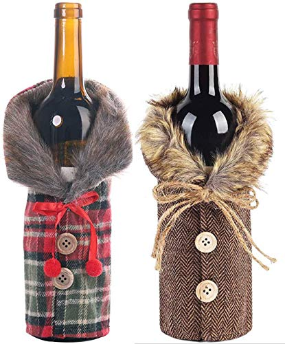 ZQQIAN 2 Stück Weihnachten Weinflasche Abdeckung Taschen,Weihnachten Flaschen Deko,Weihnachten Weinflasche Abdeckung für Weihnachten Tischdekoration