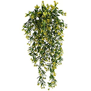 NAHUAA Artificial Hanging Vine, 2pcs 30 inches Outdoor Fake Hanging Plants Luxuriant Wall Hang Garland Porch Patio Arch Balcony Basket Garden Party Wedding Decorations