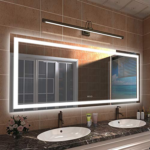 Amorho LED Bathroom Vanity Mirror 72x32, Large Shatter-Proof Dimmable Mirrors with Anti-Fog (Backlit + Front-Lighted )