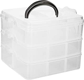 ULTNICE Jewellery Storage Box Transparent Compartment Case with Removable Dividers ( 3 Layer and 18 Compartment)