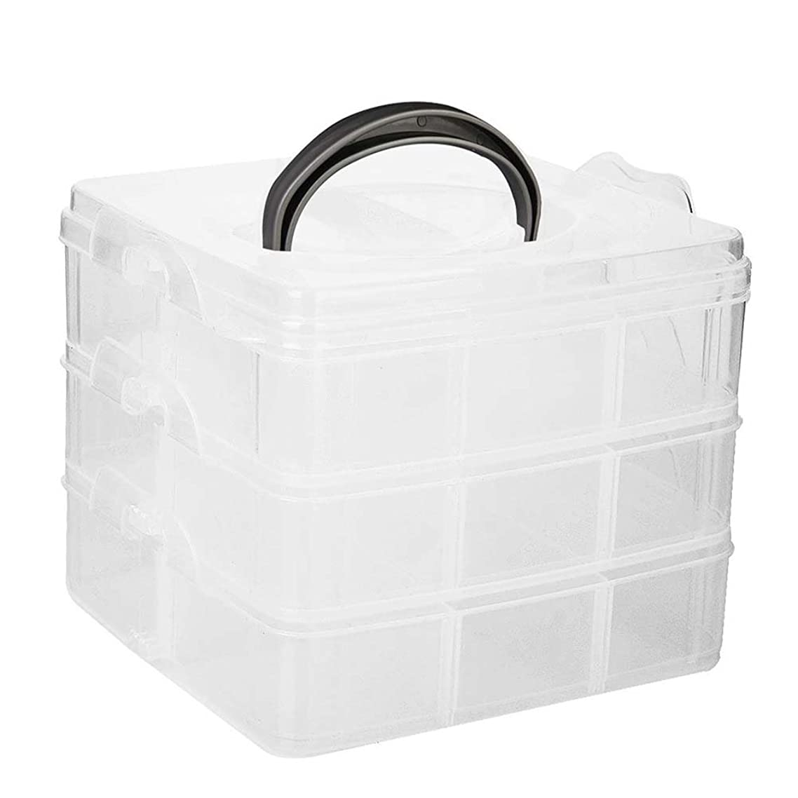 Tinksky Jewelry Organizer Storage Container with Removable Dividers 3-Layer 18-Grid (Transparent)